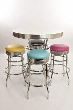 Retro Bar Table and Stools Set