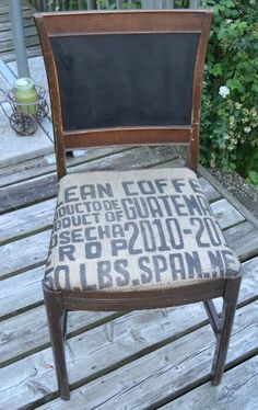Rustic Recover with a recycled coffee bean bag.