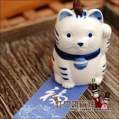 Aliexpress.com : Buy Blue and white porcelain lucky cat 4 windbags japanese style ceramic wind chimes f38 from Reliable f38 suppliers on TGLOE. $7.65