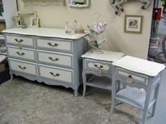 My French Provincial dresser and nightstands painted in ASCP Old White and Paris Gray.
