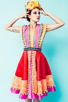 Gonna di Frida Full Circle rosso arancione e rosa con di LOMstore