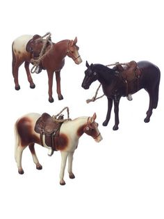 Set of 3 beautiful horses complete with saddles and tac. Each is suspended by a jute hanger. Colors of horses may vary. Measurements are approximate and do not include the hanger. Dimensions: H Cowboy Christmas, Country Christmas, Christmas Crafts, Christmas Ornaments, Christmas Trees, Breyer Horses, Horse Saddles, Western Decor, Gifts For Pet Lovers