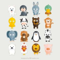 Collection Funny animals Vecteur gratuit