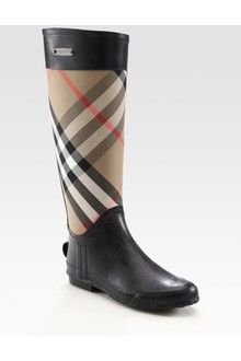 Burberry Checked Midcalf Boot in Black | Lyst