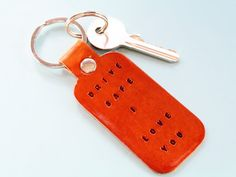 This Drive Safe I Love You leather keyring has individually hand-stamped lettering. This leather keychain would make an ideal leather gift for a new driver. Also, handcrafted leather goods make great anniversary gifts. Why not check out my Etsy shop? Leather Bookmark, Leather Keyring, Leather Gifts, Handmade Leather, Leather Anniversary Gift, Anniversary Gifts, Key Fobs, Classic Leather, Boyfriend Gifts