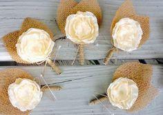 Ivory Satin Flower Boutonniere/Button