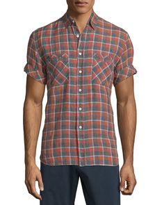 Donelson Plaid Short-Sleeve Shirt, Multi, Men's, Size: XX-LARGE - Billy Reid