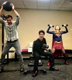 Supergirl | Chris Wood (Mon-El), Darrin Criss (Music Meister) and Melissa Benoist (Kara/Supergirl)