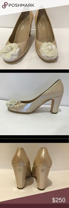 Chanel patent pumps Good condition, clean. Used marks on sole and have been repair for rebalance. Heels are on good condition, please see pictures for more detail. Nude patent leather Chanel round-toe pumps with ivory camellia accent at tops and gold-tone interlocking CC at covered heels. CHANEL Shoes Heels