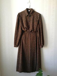 Brown patterned blouse  skirt set Finnish design