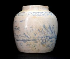 Antique rustic Chinese Pottery Ginger Jar, handpainted, canton style