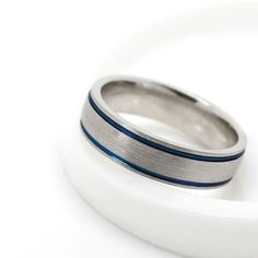 6mm 925 Sterling Silver Ring with Blue Ceramic by AlexisTreasury
