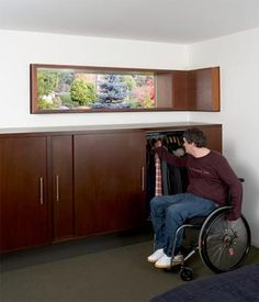 built in wheelchair accessible closet. Sliding doors eliminate door swing clearance and the height is just perfect.