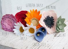 Felt Wild Flowers Set of 9 by SugarSnapBoutique on Etsy