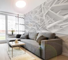 White wallpaper in geometric style - 3D wall mural would be great decoration for every modern living room!