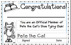 Shoe tying activity printable for fun!  Inspired by Kindergarten: Shoe Tying With Pete the Cat. Just add #Braille!
