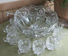 Moon and Stars Punch Bowl Set L.E. Smith Vintage Drinkware