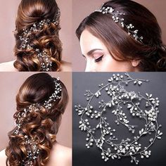 New Pearls Wedding Hair Vine Crystal Bridal Accessories Rhinestone Headband Best Floral Headdress, Bridal Headdress, Rhinestone Headband, Rhinestone Wedding, Chain Headpiece, Hair Chains, Vintage Hair Combs, Hair Arrange, Hair Beads