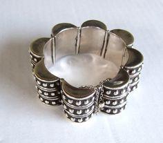 LOS CASTILLO Mod nobbled sterling silver Statement bracelet, Taxco designer, Artisan, Chunky vintage 50s 60s 70s