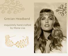 grecian headband brass flowers by Mona Lisa Maui, circlet wreath, tiny flower branches on etsy, www.etsy.com/shop/monalisamaui