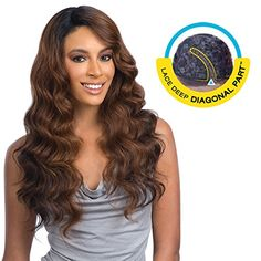 BRAZILIAN NATURAL LOOSE2 Dark Brown  FREETRESS EQUAL DEEP DIAGONAL PART LACE FRONT WIG *** Check this awesome product by going to the link at the image.(This is an Amazon affiliate link)