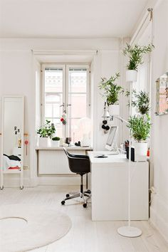 myidealhome: green plants in the office (via Interior inspirations)