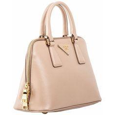 6bc9193445da Prada Mini Saffiano Leather Dome Bag BL0838 Beige ❤ liked on Polyvore  featuring bags, handbags, shoulder bags, beige purse, beige shoulder bag,  prada, ...