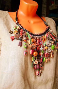 """Necklaces, handmade beads.  """"Mosaic"""" Set of jewelry from polymer clay.  MLiliyaM.  Fair Masters.  Ethnic, handmade, ethnic"""