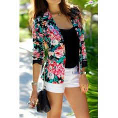 USD9.99Stylish O Neck Long Sleeves Floral Print Spandex Suit Jacket