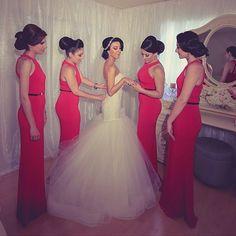 red bridesmaids!