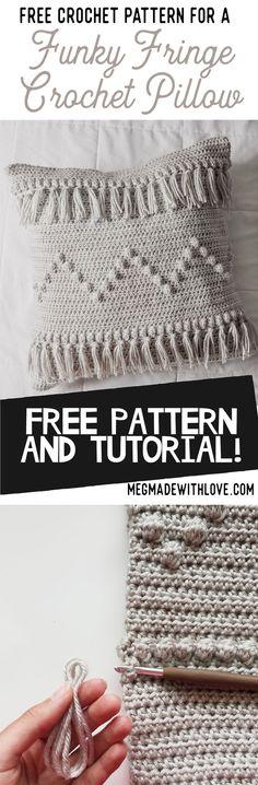Free Crochet Pattern for Crochet Fringe Pillow - Megmade with Love