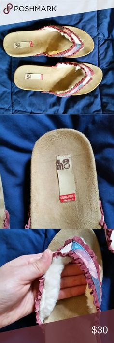 Lamo sandals Very solid, comfortable sandal with wool trim lining the  inner thong straps Lamo Shoes Sandals