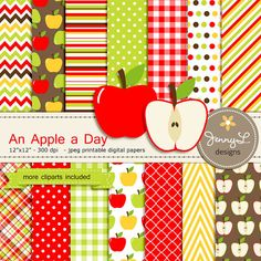 Apple Digital Paper and Clipart SET, for Baby Shower, Wedding, School teacher and Scrapbooking Paper Party Theme, Clipart Baby, Clipart Png, Design Shop, Scrapbooking Digital, Digital Papers, Planners, Papel Scrapbook, Scrapbook Layouts, Palette Art
