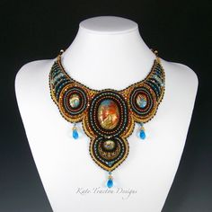 Arabesque Collar Bead Embroidery Polymer by KateTractonDesigns