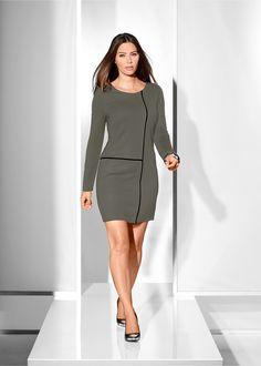 Vestido tubinho com detalhe geométrico preto/branco encomendar agora na loja on-line bonprix.de  R$ 99,90 a partir de Beleza clássica! Vestido tubinho de ...