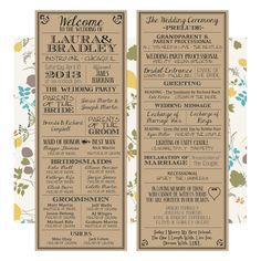 Printable Wedding Programs. Look great on Kraft Paper!