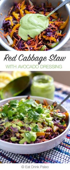 Red Cabbage Slaw With Creamy Avocado and Coriander | http://eatdrinkpaleo.com.au/red-cabbage-slaw-creamy-avocado-coriander/