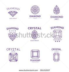 Vector diamond logo set. Jewellery logo collection. Rhinestone company. - stock vector