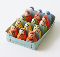Vintage Matryoshka Doll set of 15 small Matryoshka by bellalulu