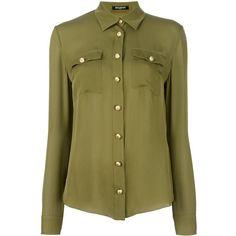 Balmain Classic Poplin Shirt (6.210 RON) ❤ liked on Polyvore featuring tops, long sleeve collar shirt, long sleeve tops, embellished top, curved hem shirt and embellished collar shirt