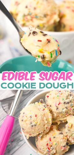 Edible Sugar Cookie Dough is a tasty eggless cookie dough loaded with colourful sprinkles and mini semi sweet chocolate chips. Edible Sugar Cookie Dough, No Bake Cookie Dough, Edible Cookies, Best Sugar Cookies, Sugar Cookies Recipe, Yummy Cookies, Delicious Cookie Recipes, Easy Cookie Recipes, Sweets Recipes
