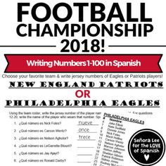 Spanish Numbers Activity  Football Championship Team Rosters b597e5d713e