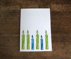 Einzelne Hand gedruckten Kerze Karte Geburtstag von jessnielsen