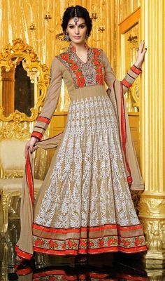 Beige Embroidered Georgette Long Anarkali Churidar Suit Price: Usa Dollar $123, British UK Pound £73, Euro91, Canada CA$134 , Indian Rs6642.