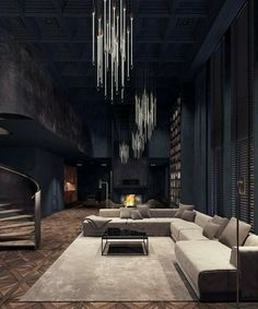 Gothic Interior, Black Interior Design, Interior Modern, Interior Architecture, Modern Decor, Luxury Interior, Black Room Design, Interior Staircase, Minimalist Architecture