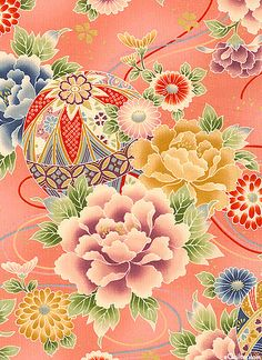 asian floral Japanese Quilts, Japanese Textiles, Japanese Paper, Japanese Painting, Japanese Fabric, Japanese Kimono, Chinese Patterns, Japanese Patterns, Kimono Pattern