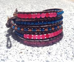 Four Wrap Brown Turquoise Copper Pink Ruby Glass Bead Bracelet on Etsy, $25.99