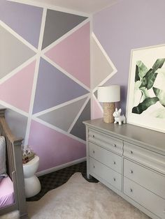 Pink and Purple Bedroom Accessories Luxury Home Decor Geometric Accent Wall – . - Pink and Purple Bedroom Accessories Luxury Home Decor Geometric Accent Wall – Little Girl S Room - Room Wall Painting, Room Wall Decor, Bedroom Decor, Bedroom Ideas, Bedroom Wall Designs, Accent Wall Bedroom, Purple Bedroom Design, Purple Bedrooms, Girls Room Paint