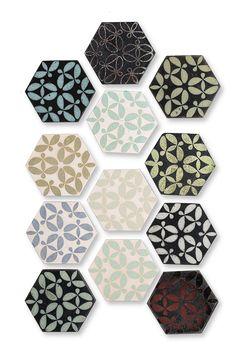 » Design - KARAK   gebrannte Zeichen Hexagon Tiles, Arts And Crafts Movement, Reading Nook, Pattern Paper, Architecture Details, Wands, Symbols, Fire, It Is Finished