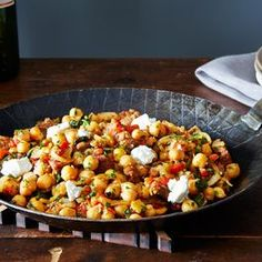 Chickpeas with Chorizo and Goat Cheese.